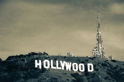 Photograph - Hollywood Hills - Los Angeles California - Sepia by Gregory Ballos