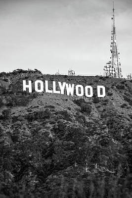 Photograph - Hollywood Hills Sign Vertical Color - Los Angeles California - Black And White by Gregory Ballos