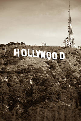 Photograph - Hollywood Hills Sign Vertical Color - Los Angeles California - Sepia by Gregory Ballos