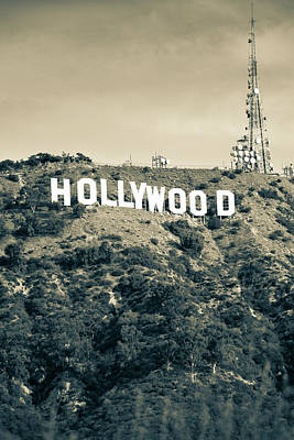 Photograph - Hollywood Hills Sign Vertical Color - Los Angeles California - Sepia Tone by Gregory Ballos