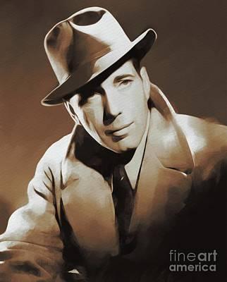 Bogart Painting - Hollywood Legends, Humphrey Bogart by Mary Bassett