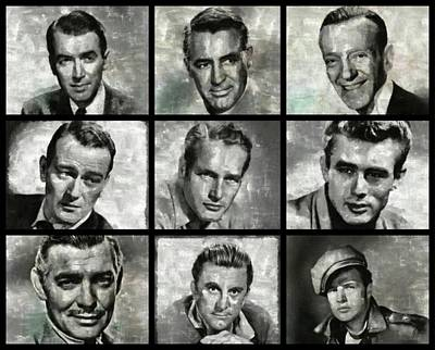 Cary Grant Wall Art - Painting - Hollywood Legends - Vintage Actors by Esoterica Art Agency