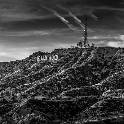 Photograph - Hollywood Sign - Black And White by Gene Parks