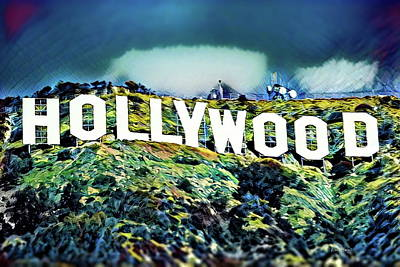 Silver Background Painting - Hollywood Sign by Russ Harris