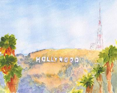 Painting - Hollywood Sign Watercolor by Carlin Blahnik