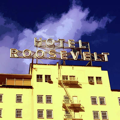 Hollywood's Roosevelt Hotel Art Print by Timothy Bulone