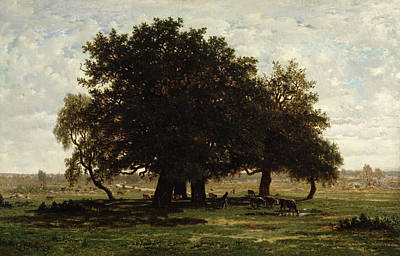 Country Side Painting - Holm Oaks by Pierre Etienne Theodore Rousseau