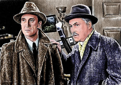 Old Friends Drawing - Holmes And Watson Colour 2 by Andrew Read