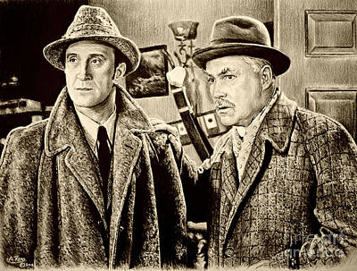 Celebrities Drawing. Celebrity Art Drawing - Holmes And Watson Sepia by Andrew Read