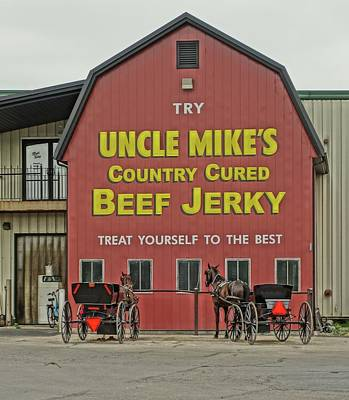 Horse And Wagon Photograph - Holmes County Amish Buggies And Beef Jerky by Dan Sproul