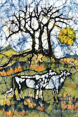 Tapestry - Textile - Holsiein Cows Below Autumn Trees by Carol  Law Conklin