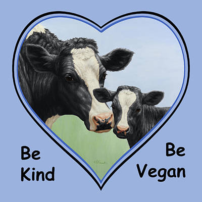 Dairy Cows Painting - Holstein Cow And Calf Blue Heart Vegan by Crista Forest