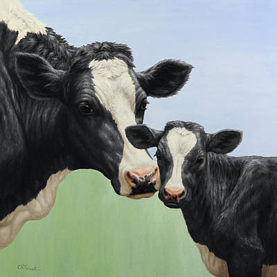 Dairy Cows Painting - Holstein Cow And Calf by Crista Forest