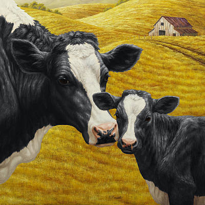 Rustic Barn Painting - Holstein Cow And Calf Farm by Crista Forest