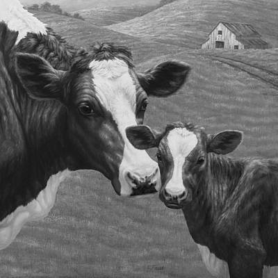 Old Barns Painting - Holstein Cow Farm Black And White by Crista Forest