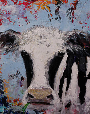 Painting - Holstein Cow Painting Farm House Wall Art Cow Art by Gray Artus