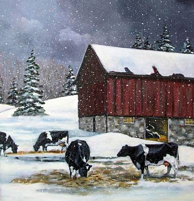 Red Barn In Winter Painting - Holstein Cows On Snowy Day No. 2 by Joyce Geleynse