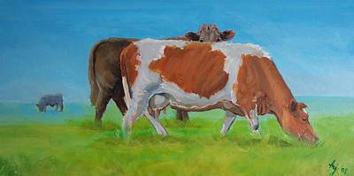 Cow Painting - Holstein Friesian Cow And Brown Cow by Mike Jory
