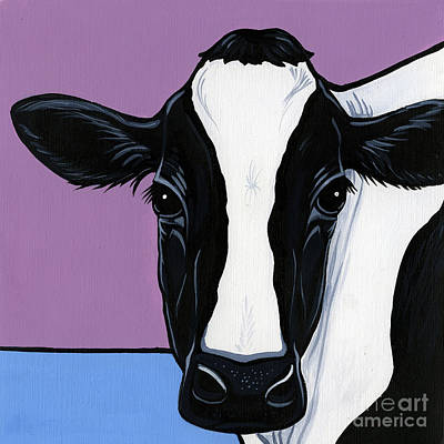 Cow Face Painting - Holstein by Leanne Wilkes