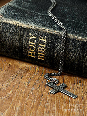 Photograph - Holy Bible And Cross by Birgit Tyrrell