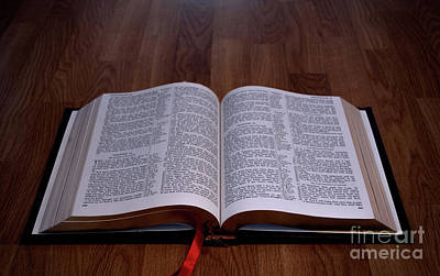Photograph - Holy Bible On Wood by Liz Masoner