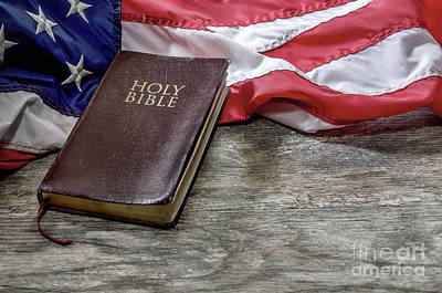 Photograph - Holy Bible With Flag by Liz Masoner