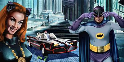 Painting - Holy Catastrophe - Julie Newmar And Adam West - 1966 by Jo King and Udo Linke
