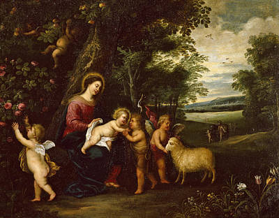 Painting - Holy Family Departing For Egypt by Pieter van Avont