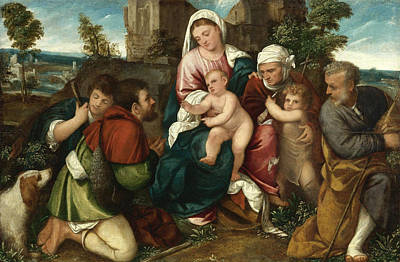 Saint Elizabeth Painting - Holy Family With Saint Elizabeth The Infant Saint John And Two Shepherds by Bonifazio Veronese