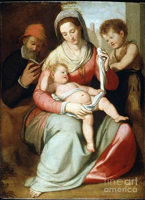 Holy Family With Saint Joseph Reading And The Young Saint John The Baptist Art Print by MotionAge Designs