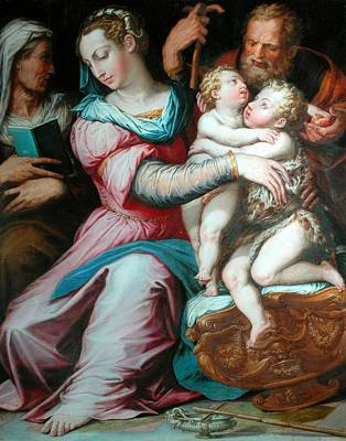 Baptist Painting - Holy Family With St John  by Giorgio Vasari