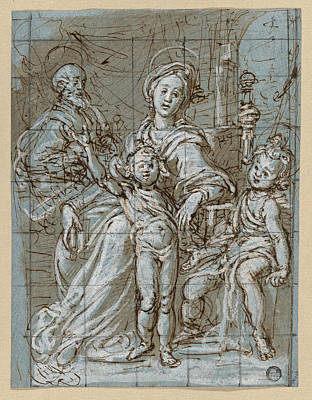 Drawing - Holy Family With The Infant St. John The Baptist by Gregorio Pagani