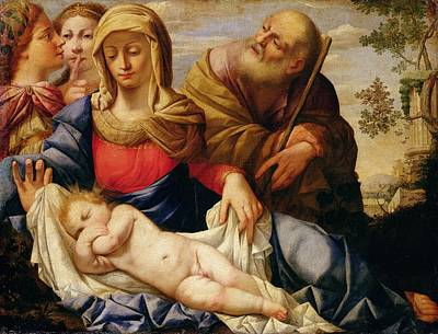 Nude Mothers Painting - Holy Family With Two Female Figures by Il Sassoferrrato