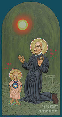 Painting - Holy Father Pedro Arrupe, Sj In Hiroshima With The Christ Child 293 by William Hart McNichols