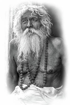 Worship Necklace Photograph - Holy Man - Vignette Bw by Steve Harrington