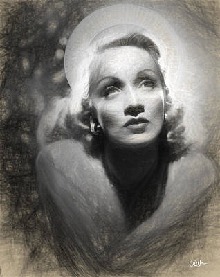 Holy Marlene Dietrich Draw Art Print by Quim Abella