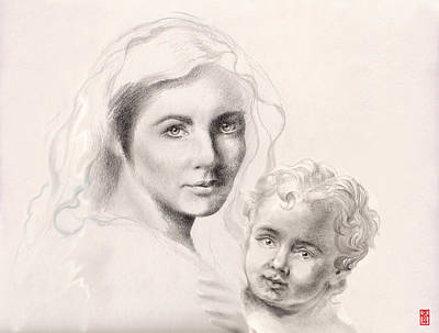 Pencil Drawing Of Jesus Painting - Holy Mary And Christ Child by Scott Kirkman