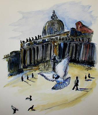 Holy Pigeons Art Print