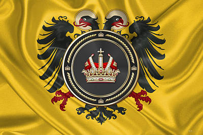 Digital Art - Holy Roman Empire Imperial Crown Over Banner Of The Holy Roman Emperor by Serge Averbukh
