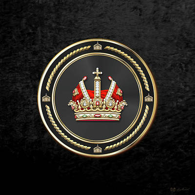 Digital Art - Holy Roman Empire Imperial Crown Over Black Velvet by Serge Averbukh