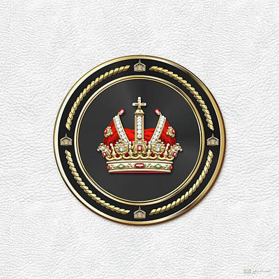 Digital Art - Holy Roman Empire Imperial Crown Over White Leather  by Serge Averbukh