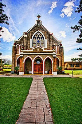 Tropical Stain Glass Photograph - Holy Rosary Catholic Church by Marcia Colelli