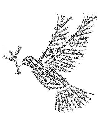 Holy Spirit Calligram Original by Doritina Pentico
