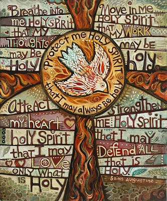 Cross Painting - Holy Spirit Prayer By St. Augustine by Jen Norton