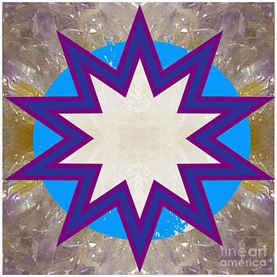 Painting - Holy Star White Purple Blue On Crystal Stone Marble Unique Shades Tones Textures Buy Wall Decoration by Navin Joshi