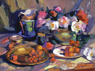 Table Cloth Painting - Homage To Cezanne by David Lloyd Glover
