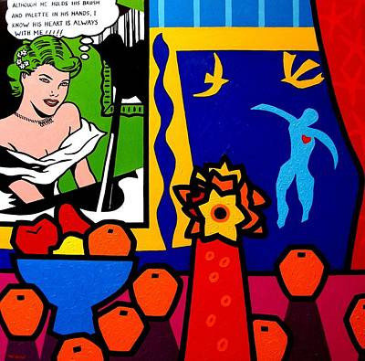 Egyptian Painting - Homage To Lichtenstein And Matisse by John  Nolan