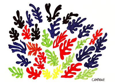 Red Line Drawing - Homage To Matisse by Teddy Campagna