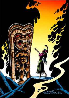 Surfing Art Drawing - Homage To Tiki by Keith Tucker