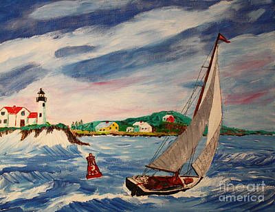 New England Lighthouse Painting - Home Ahead Of The Storm by Bill Hubbard